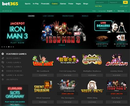 bet365 Casino screen